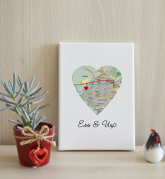 "Picture of Арт принт с любима локация ""Love Map"""