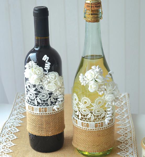 """Picture of Ръчно украсени сватбени бутилки в стил""""Рустик'"""