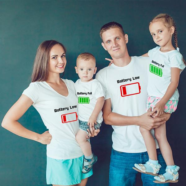 "Picture of Семейни тениски ""Battery low"""