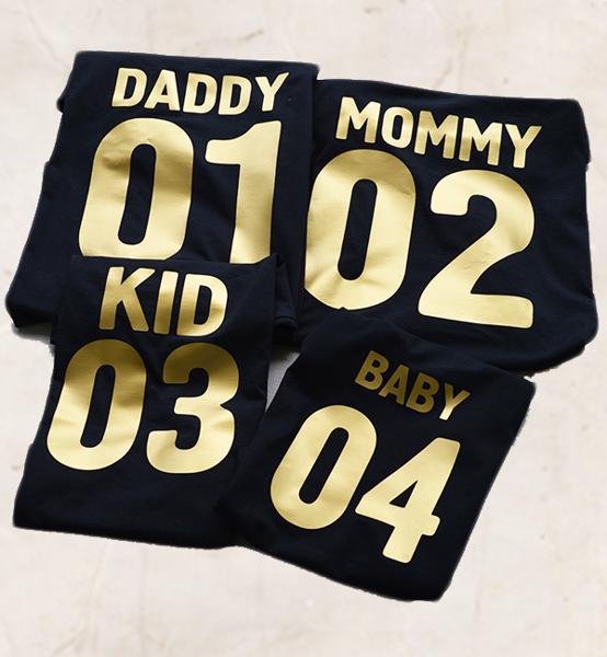 """Picture of Сет от семейни тениски """"Numbers IN Gold"""""""