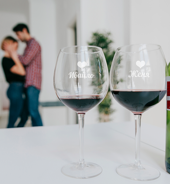 Picture of Романтични Чаши за вино с имена и сърца