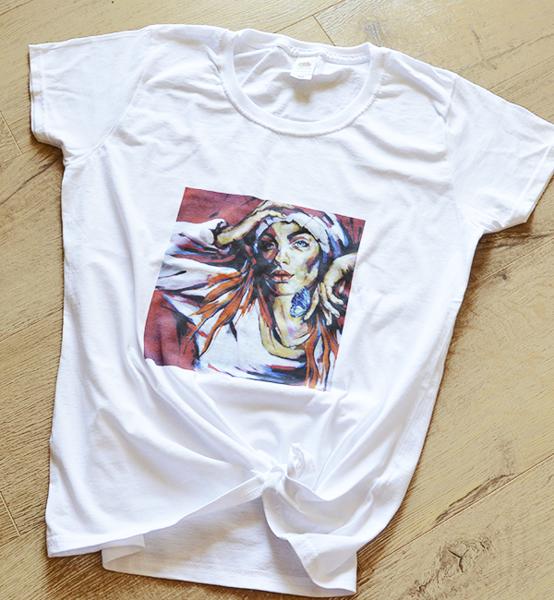 Picture of Дамска тениска с авторски принт Butterfly girl
