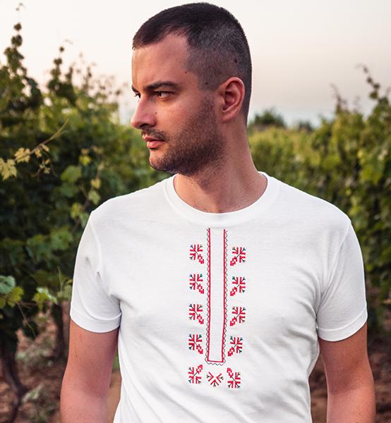 Picture of Мъжка бяла тениска с шевици