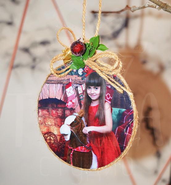 Picture of Коледна декорация за елха със снимка и послание