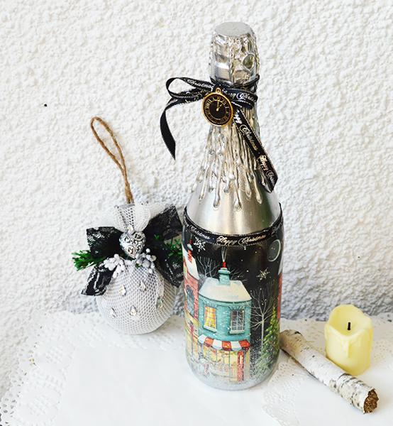 Picture of Луксозно шампанско  ръчно декорирано в сребро SILVER LUX