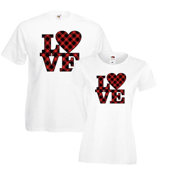 Picture of Тениски за двойки с принт в каре LOVE
