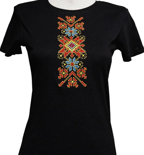 """Picture of Дамска черна тениска с шевици """"Канатица"""""""