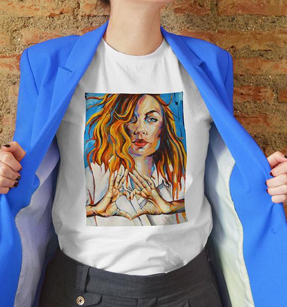 Picture of Дамска тениска с авторски принт Love Hands