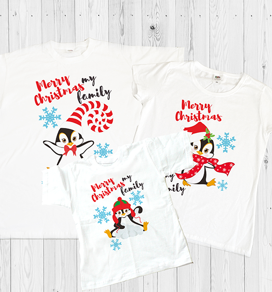"Picture of Семейни коледни тениски  ""Пингвини"""